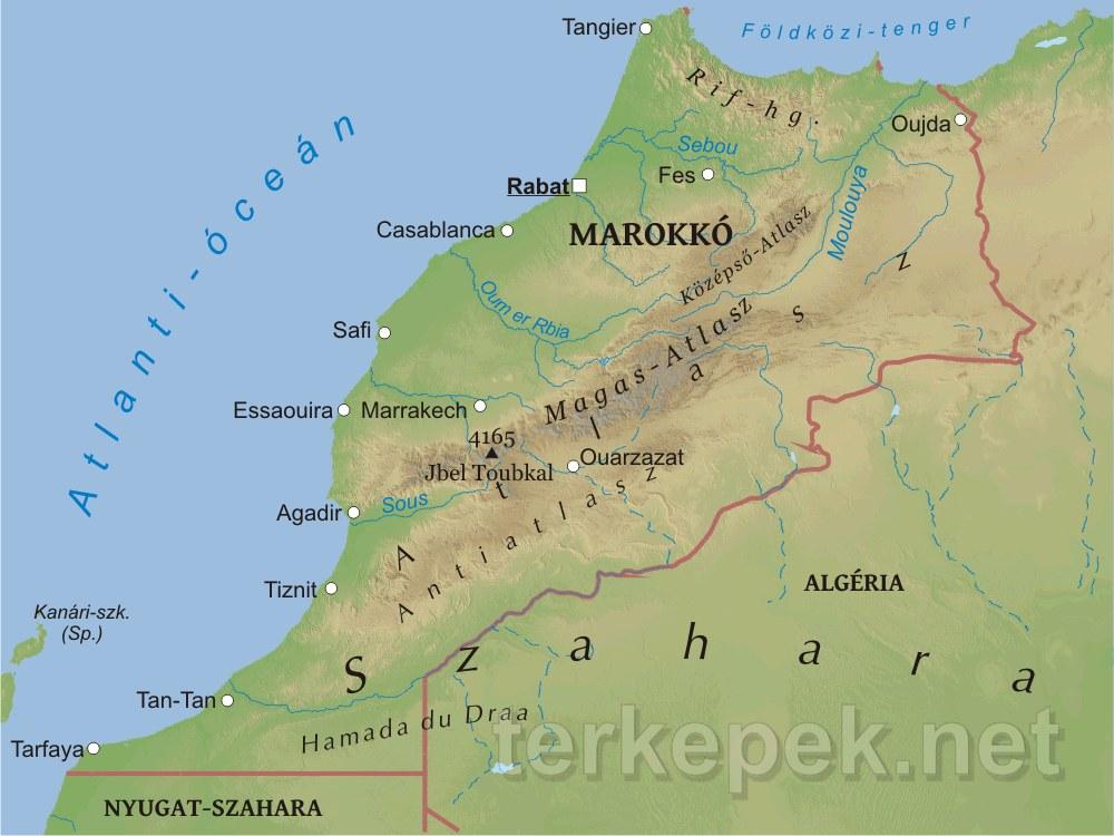 marokkó térkép Marokkó domborzati térképe marokkó térkép